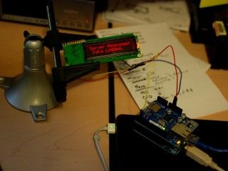 Arduino Ethernet Shield data tests output to serial LCD